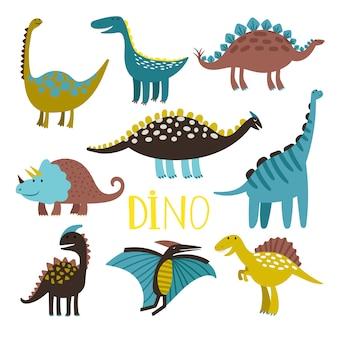 Dinosaure, ensemble, blanc, fond