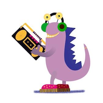Dinosaure fantastique. dessin d'enfants. élégant dinosaure mignon et magnétophone.