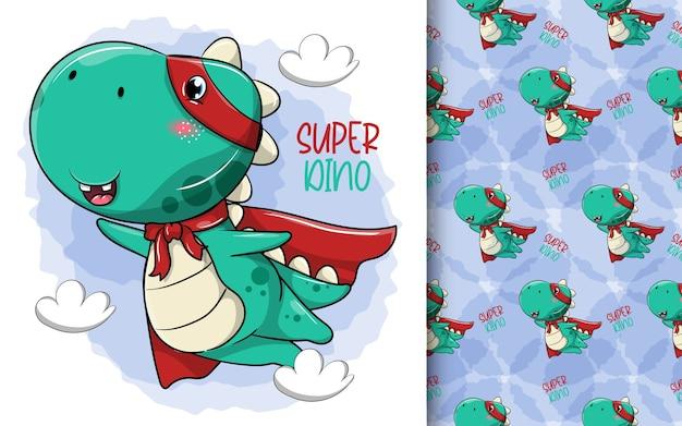 Dinosaure héros de dessin animé mignon