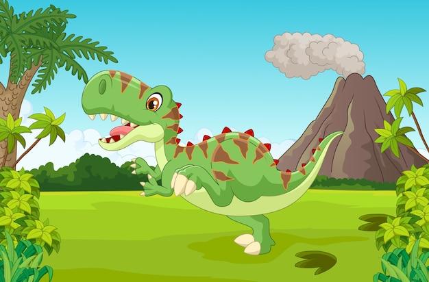 Dinosaure heureux cartoon avec montagne