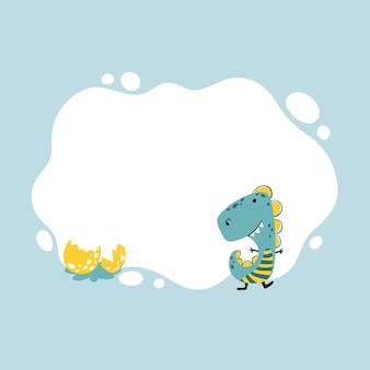 Dinosaure. illustration vectorielle d'un dino avec un cadre de tache dans un style dessiné à la main de dessin animé simple.
