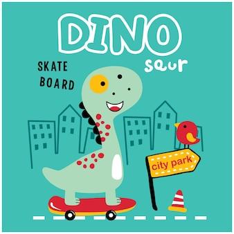Dinosaure jouer planche à roulettes drôle animal dessin animé