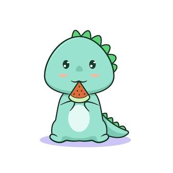 Dinosaure kawaii mignon mangeant de la pastèque