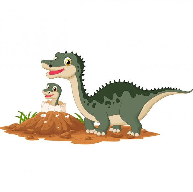 Dinosaure mère avec bébé à couver