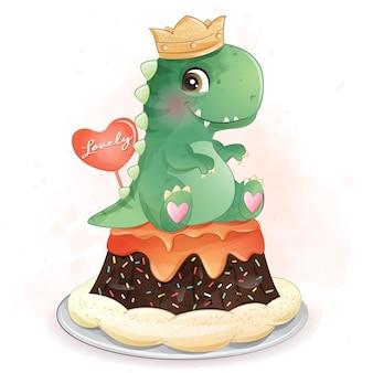 Dinosaure Mignon Assis Dans L'illustration Du Gâteau Vecteur Premium