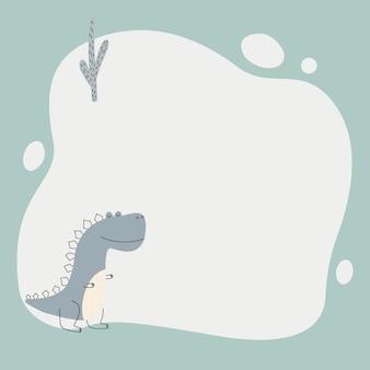 Dinosaure mignon avec un cadre de tache dans un style simple dessiné à la main.