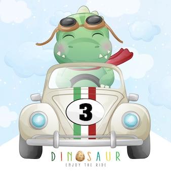 Dinosaure mignon chevauchant une voiture de course avec illustration aquarelle
