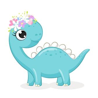 Dinosaure mignon fille avec illustration de dessin animé de fleurs