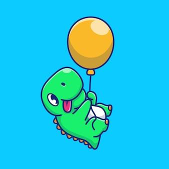 Dinosaure mignon avec illustration d'icône de ballon. personnage de dessin animé de mascotte dino. concept d'icône animale isolé