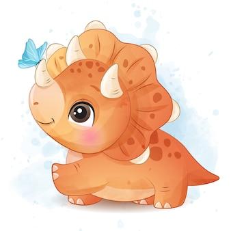 Dinosaure mignon jouant avec illustration papillon