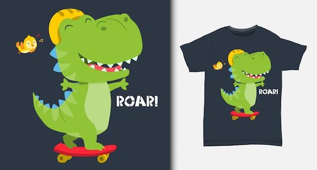 Dinosaure mignon jouant à la planche à roulettes. avec un design de t-shirt.