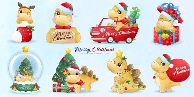 Dinosaure Mignon Pour Joyeux Noël Avec Jeu D'illustrations à L'aquarelle Vecteur Premium