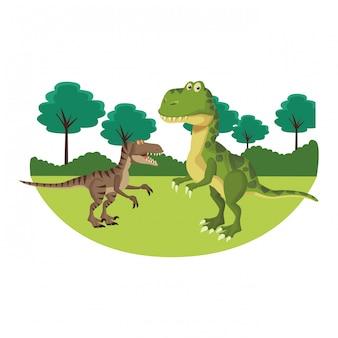 Dinosaure à la nature