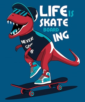 Dinosaure de patineur cool