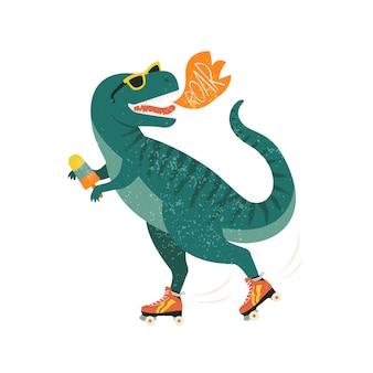 Dinosaure sur patins à roulettes avec crème glacée.