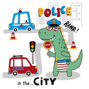 Dinosaure le policier drôle animal cartoo