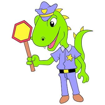 Dinosaure reptile géant comme agent de la circulation, art de l'illustration vectorielle. doodle icône image kawaii.