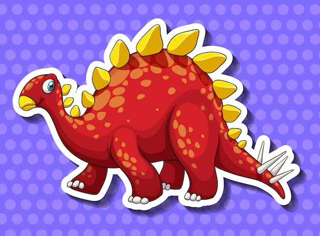 Dinosaure rouge sur fond bleu