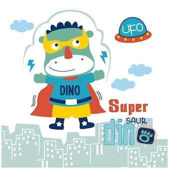 Dinosaure le super héros dessin animé drôle d'animal