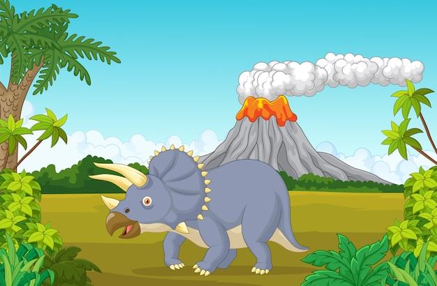 Dinosaure tricératops cartoon en arrière-plan préhistorique