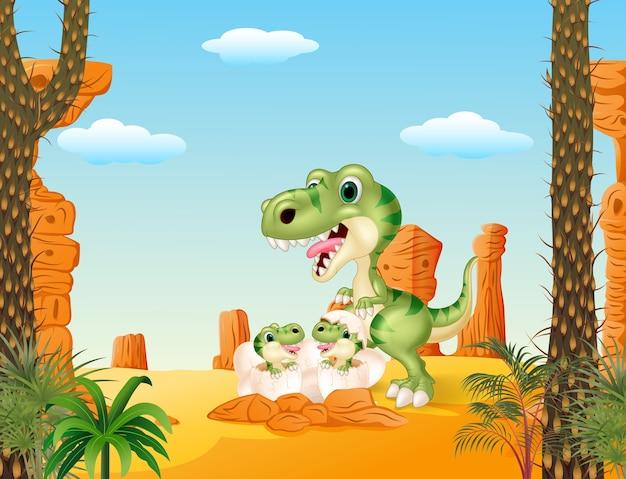 Dinosaure tyrannosaure de dessin animé maman