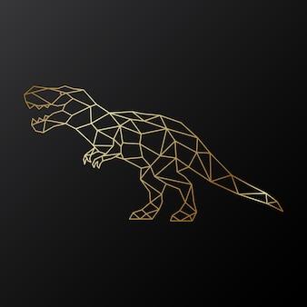 Dinosaure tyrannosaure polygonale d'or