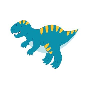 Dinosaure tyrannosaurus rex enfants dino mignon reptile de dessin animé plat monstre dragon bleu s