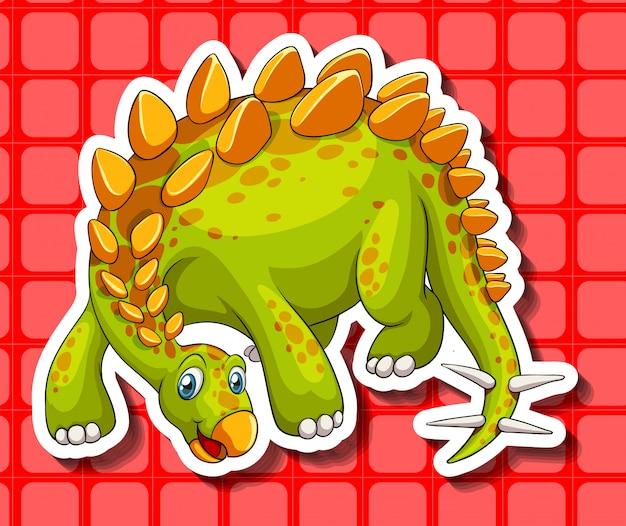 Dinosaure vert sur fond rouge
