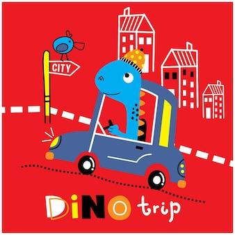Dinosaure sur la voiture drôle de bande dessinée animale
