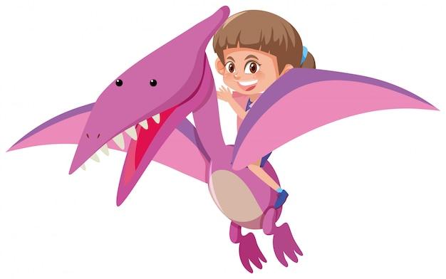 Dinosaure volant fille d'équitation