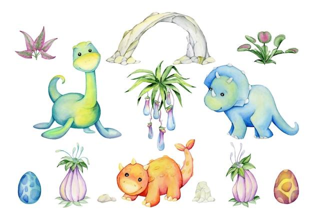 Dinosaures, arbres, palmiers, nuages, fleurs, pierres. ensemble d'éléments
