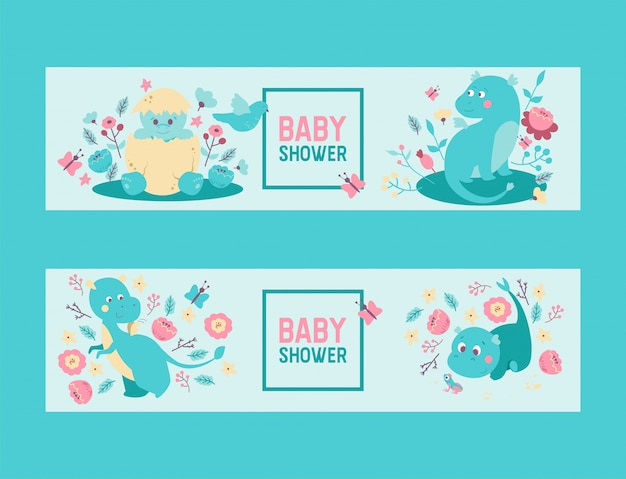 Dinosaures bébé douche garçon ou une fille invitation de vecteur. joli bébé oeuf de dinosaures et dragons éclosant d'oeuf, assis dans des fleurs