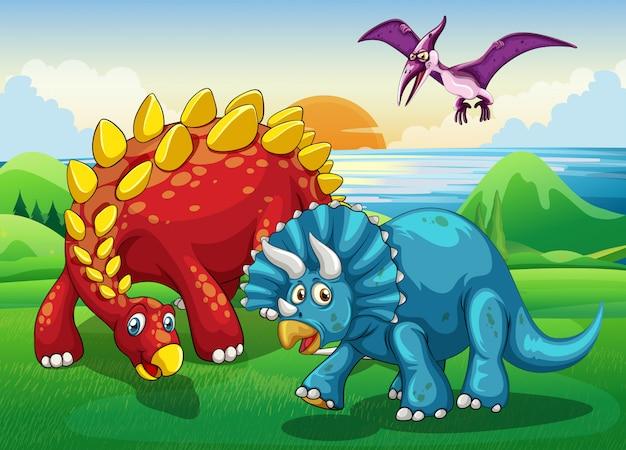Dinosaures dans le parc