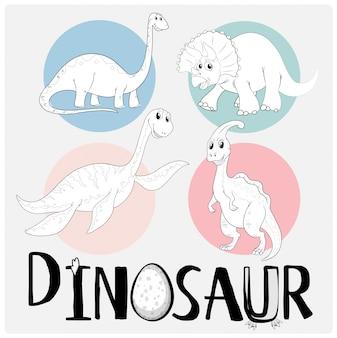 Dinosaures dans quatre types différents