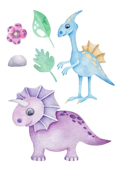 Dinosaures de dessin animé aquarelle isolés sur blanc