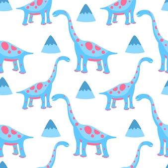 Dinosaures drôles dessinés à la main. modèle sans couture pour pépinière, textile, vêtements pour enfants.
