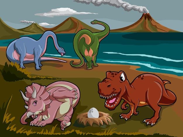 Dinosaures du jurassique sauvage