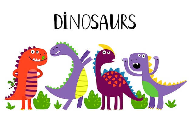 Dinosaures émotionnels de dessin animé sur fond blanc