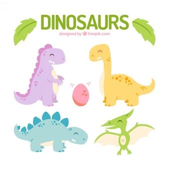 Dinosaures heureux de couleur fixés