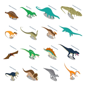 Dinosaures isometric icons set