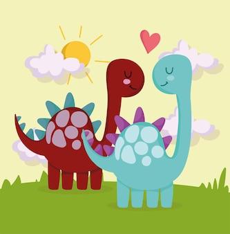Dinosaures mignons amoureux