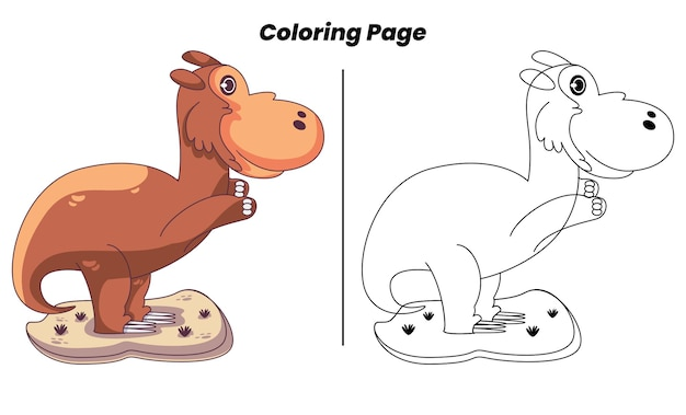 Dinosaures mignons avec des pages à colorier