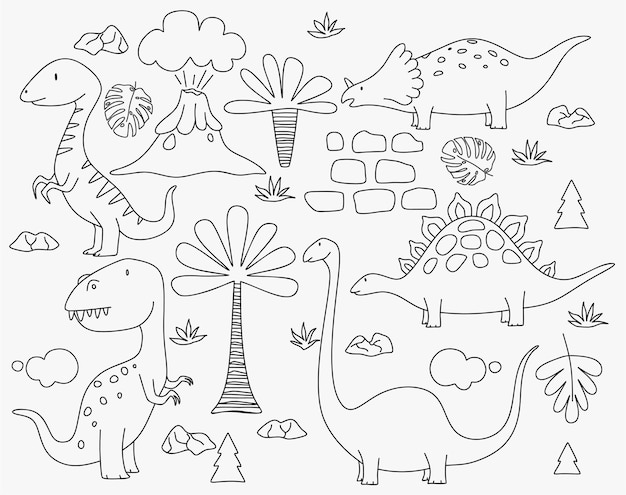 Dinosaures mignons et plantes tropicales