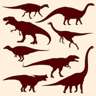 Dinosaures, silhouettes de reptiles fossiles de vecteur