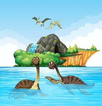 Dinosaures vivant dans l'océan