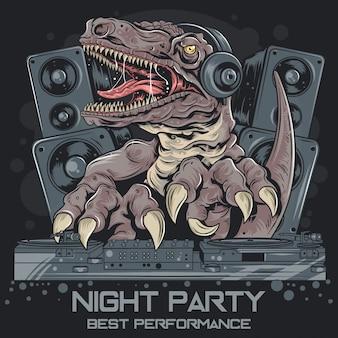 Dinosour trex dj music party