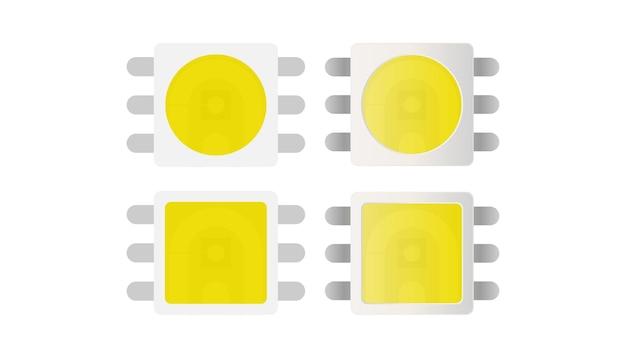 Diode électro-luminescente. élément lumineux pour ruban led. style plat. isolé. vecteur.