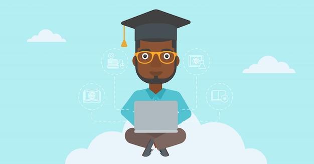 Diplômé assis sur un nuage.