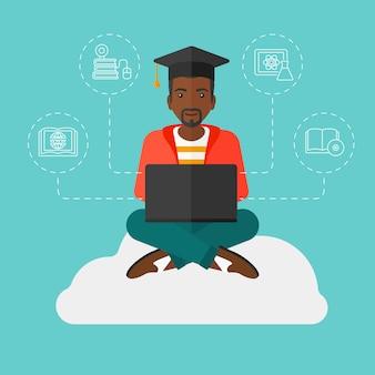 Diplômé assis sur un nuage