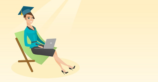 Diplômé en chaise longue avec ordinateur portable.